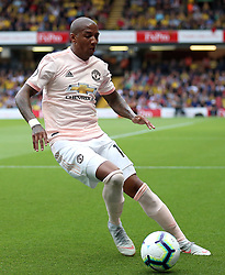 """Manchester United's Ashley Young during the Premier League match at Vicarage Road, Watford PRESS ASSOCIATION Photo. Picture date: Saturday September 15, 2018. See PA story SOCCER Watford. Photo credit should read: Nigel French/PA Wire. RESTRICTIONS: EDITORIAL USE ONLY No use with unauthorised audio, video, data, fixture lists, club/league logos or """"live"""" services. Online in-match use limited to 120 images, no video emulation. No use in betting, games or single club/league/player publications."""