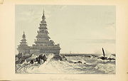 Temple At Mahabalipoor [Shore Temple of Mahabalipuram (built in 700–728 AD)] From the book ' The Oriental annual, or, Scenes in India ' by the Rev. Hobart Caunter Published by Edward Bull, London 1834 engravings from drawings by William Daniell