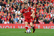 James Milner of Liverpool in action. Premier League match, Liverpool v Burnley at the Anfield stadium in Liverpool, Merseyside on Saturday 16th September 2017.<br /> pic by Chris Stading, Andrew Orchard sports photography.