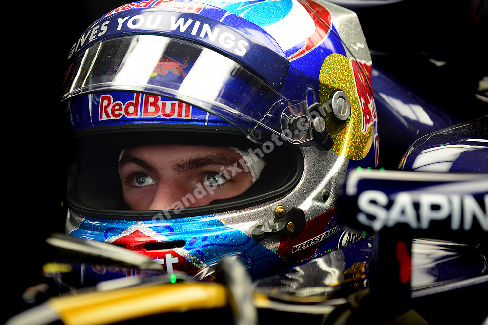 Max Verstappen (Toro Rosso-Ferrari) in the pits with his helmet on during practice before the 2016 Chinese Grand Prix at the Shanghai International Circuit. Photo: Grand Prix Photo