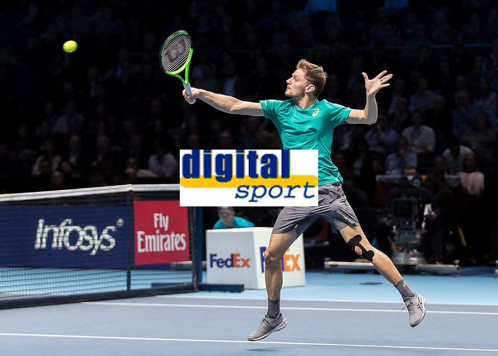 Tennis - 2017 Nitto ATP Finals at The O2 - Day Six<br /> <br /> Group Pete Sampras Singles: Dominic Thiem (Austria) Vs David Goffin (Belguim)<br /> <br /> David Goffin (Belguim) in inspired form leaps into the aerial shot at the O2 Arena <br /> <br /> <br /> COLORSPORT/DANIEL BEARHAM