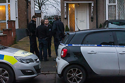 © Licensed to London News Pictures. 23/01/2020. London, UK. Police in Waverley Avenue, Chingford, where a woman aged in her 60's was found by police last night suffering from head injuries and was pronounced dead at the scene. Officers were called at 2335hrs on Wednesday, 22 January, to a report of a disturbance at an address in Waverley Avenue, E4. A man, aged in his 20s, was arrested at the location and taken into custody at a north London police station. Enquiries are underway to establish the full circumstances. Officers believe the deceased and the man arrested were known to each other. Photo credit: Vickie Flores/LNP