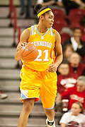 Jan 8, 2012; Fayetteville, AR, USA; Tennessee Lady Volunteers forward Bicki Baugh (21) dribbles the ball during a game against the Arkansas Razorbacks at Bud Walton Arena. Tennessee defeated Arkansas 69-38. Mandatory Credit: Beth Hall-US PRESSWIRE