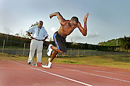 Usain Bolt training with Coach Glen Mills on warm up track in Kingston Jamaica June'08