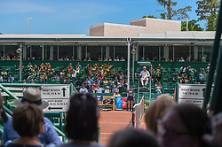 April 11, 2018 - Houston, TX, U.S. - HOUSTON, TX - APRIL 11: The chair umpire awaits the next serve as avid tennis fans line up in the queue at the midcourt tunnel on center court during the 2018 US Men's Clay Court Tennis Championships on April 11, 2018 at River Oaks Country Club, Houston, Texas. (Photo by Ken Murray/Icon Sportswire) (Credit Image: © Ken Murray/Icon SMI via ZUMA Press)