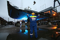 Royal Caribbean International keel laying ceremony in Turku, Finland.....The worlds largest cruise ship, currently known as Project Genesis ,  has it's first segment layed in dry Dock in Turku Finland today. The ship is due to be compleated in autumn 2009 and will be 40% bigger than the current world largest cruise ship also owned by Royal Caribbean.....Further info from Sarah Rathbone / Siren pr 020 3008 6280