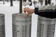Elvis Causevic - who was a Bosnian refugee child whom I met in 1992 at the Varazdin refugee camp in Croatia (he was 6 years old) - at the monument for children killed during the siege of Sarajevo in-between 1992 and 1995. 521 names are written on the memorial.
