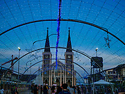 """23 DECEMBER 2018 - CHANTABURI, THAILAND: The tunnel of stars at the Cathedral of the Immaculate Conception's Christmas Fair in Chantaburi. Cathedral of the Immaculate Conception is holding its annual Christmas festival, this year called """"Sweet Christmas @ Chantaburi 2018"""". The Cathedral is the largest Catholic church in Thailand and was founded more than 300 years ago by Vietnamese Catholics who settled in Thailand, then Siam.   PHOTO BY JACK KURTZ"""