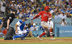 June 28, 2017 - Los Angeles, California, U.S. - Los Angeles Angels' Eric Young Jr. during a Major League baseball game against the Los Angeles Dodgers at Dodger Stadium on Tuesday, June 27, 2017 in Los Angeles. (Photo by Keith Birmingham, Pasadena Star-News/SCNG) (Credit Image: © San Gabriel Valley Tribune via ZUMA Wire)