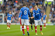 Portsmouth Forward, Brett Pitman (8) scorer of 2 goals high fives Portsmouth Midfielder, Stuart O'Keefe (7) during the EFL Sky Bet League 1 match between Portsmouth and Fleetwood Town at Fratton Park, Portsmouth, England on 16 September 2017. Photo by Adam Rivers.