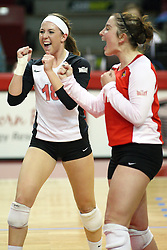 02 November 2012:  Kaitlyn Early and Jenny Menendez celebrates a point during an NCAA womens volleyball match between the Missouri State Bears and the Illinois State Redbirds at Redbird Arena in Normal IL
