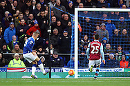 Ross Barkley of Everton taps the ball home to score his teams 1st goal. Barclays Premier League match, Everton v Aston Villa at Goodison Park in Liverpool on Saturday 21st November 2015.<br /> pic by Chris Stading, Andrew Orchard sports photography.