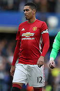 Chris Smalling of Manchester United looking on. Premier league match, Chelsea v Manchester Utd at Stamford Bridge in London on Sunday 23rd October 2016.<br /> pic by John Patrick Fletcher, Andrew Orchard sports photography.
