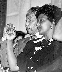 Nelson & Winnie Mandela at the Cape Town City Hall on the day of his release, 11 February 1990.