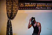 A US soldier doing a routine dance for his upcoming performance. Celebration of the 235th anniversary of the US Army. Life at Camp Lemonnier, a United States Naval Expeditionary Base, a garrison part of the Combined Joint Task Force-Horn of Africa...Camp Lemonnier is on B Alert (same level of security as Afghanistan or Iraq)...The geostrategical and geopolitical importance of the Republic of Djibouti, located on the Horn of Africa, by the Red Sea and the Gulf of Aden, and bordered by Eritrea, Ethiopia and Somalia.