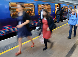 File photo dated 15/9/2014 of commuters making their way off a train at Blackfriars Station, London, as the next Labour government will legislate for public ownership of the railways, Jeremy Corbyn has pledged.