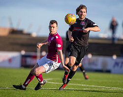 Arbroath's James Murphy and Clyde's Raymond Grant. Arbroath 0 v 2 Clyde, Tunnocks Caramel Wafer Challenge Cup 4th Round, played 12/10/2019 at Arbroath's home ground, Gayfield Park.