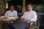 Peter Gordon and Miles Kirby, Head chef at the Providores, Preparing for the Le Prince Maurice Prize. Mauritius. 27 May 2006. ONE TIME USE ONLY - DO NOT ARCHIVE  © Copyright Photograph by Dafydd Jones 66 Stockwell Park Rd. London SW9 0DA Tel 020 7733 0108 www.dafjones.com