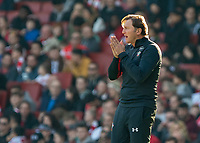 Football - 2018 / 2019 Premier League - Arsenal vs. Southampton<br /> <br /> Ralph Hasenhuttl (Manager of Southampton FC) appears to be praying for a miracle after his team go 2-0 down<br /> at The Emirates.<br /> <br /> COLORSPORT/DANIEL BEARHAM