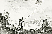 'Man flying a kite, symbolising the striving of the soul for its place in the ultimate higher sphere of the universe.   From ''Utriusque cosmi ... historia'' , Oppenheim, 1617-1619, by Robert Fludd.'