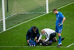 Matic Fink of Olimpija injured during football match between NK Olimpija and NK Domzale in 23rd Round of Prva liga Telekom Slovenije 2020/21, on February 24, 2021 in SRC Stozice, Ljubljana, Slovenia. Photo by Vid Ponikvar / Sportida