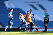 Hull City defender Isaac Hayden and Brighton defender, full back, Liam Rosenior battles for possession the Sky Bet Championship match between Brighton and Hove Albion and Hull City at the American Express Community Stadium, Brighton and Hove, England on 12 September 2015.