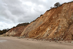 Footpath and beach closed after multiple landslides at North Beach Swanage Dorset, UK, April 2020