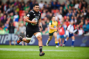 New Zealand's Isaia Walker-Leawe races to the try line after charging down a kick during the World Rugby U20 Championship 5rd Place play-off  match Australia U20 -V- New Zealand U20 at The AJ Bell Stadium, Salford, Greater Manchester, England on Saturday, June  25  2016.(Steve Flynn/Image of Sport)