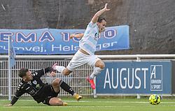 Morten Ohlsen Hansen (Kolding IF) stopper Frederik Bay (FC Helsingør) under kampen i 1. Division mellem FC Helsingør og Kolding IF den 24. oktober 2020 på Helsingør Stadion (Foto: Claus Birch).