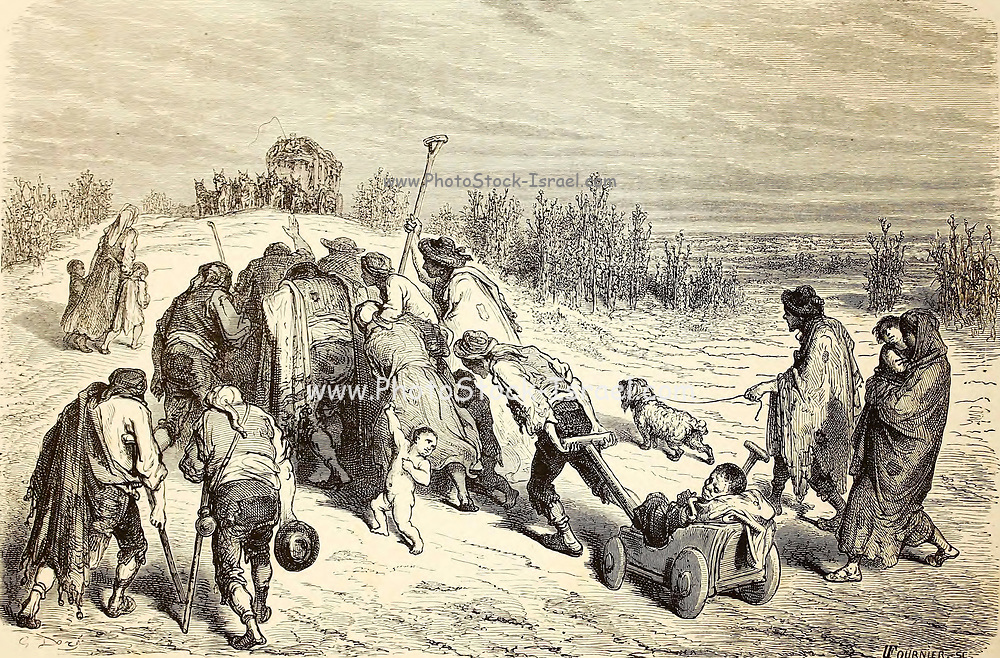 Une troupe de mendiants, pres d'Almuradiel (Manche) [A troop of beggars, near Almuradiel (Manche)] Page illustration from the book 'Spain' [L'Espagne] by Davillier, Jean Charles, barón, 1823-1883; Doré, Gustave, 1832-1883; Published in Paris, France by Libreria Hachette, in 1874