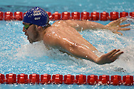 James Guy on his way to a team Gold Medal in the 4 x 100m Medley during day 14 of the 33rd  LEN European Aquatics Championship Swimming Finals 2016 at the London Aquatics Centre, London, United Kingdom on 22nd May 2016. Photo by Martin Cole.
