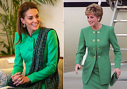 (left to right) File photo dated 15/10/19 of the Duchess of Cambridge wearing a spring green tunic by Catherine Walker, a dark green patterned scarf by Satrangi and earrings by Pakistani brand Zeen, during an official meeting with the President of Pakistan Arif Alvi at the Presidential Palace in Islamabad during the second day of the royal visit, and file photo dated 13/11/92 of Diana, Princess of Wales, descending the steps of the plane when she arrived at Orly Airport on the start of her three-day visit to France. Kate has channelled classic demure elegance on her royal tour of Pakistan, with her bright green and sleek lines from her outfit drawing comparison with Diana's, on her official visit to France in 1992.
