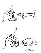 (A dog growls and shows its teeth at a man sitting on the ground. The man's shoes retaliate by showing their own teeth at the dog, who slinks off)