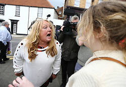 © Licensed to London News Pictures. 29/04/2017. Hartlepool UK. A fight breaks out between Pro EU campaigner North East for Europe (Right) and a UKIP party supporter (left) in Hartlepool, County Durham, before UKIP leader Paul Nuttall heads out on the campaign trail. Photo credit: Andrew McCaren/LNP