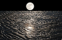 2012 doomday, surrealistic landscape with moon on earth covered with receding water with moonlight reflctions.