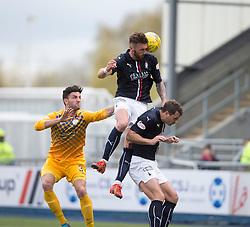 Falkirk's Lee Miller over Morton's Ricki Lamie and Falkirk's David McCracken. <br /> Falkirk 1 v 0 Morton, Scottish Championship game  played 1/5/2016 at The Falkirk Stadium.