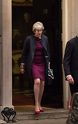 © Licensed to London News Pictures. 16/10/2017. London, UK. Prime Minister Theresa May leaves Downing Street for Brussels. Later Mrs May and Brexit Secretary David Davis will have dinner with EU chief negotiator Michel Barnier and Commission chief Jean-Claude Juncker in Brussels after Brexit talks were described as being in deadlock. Photo credit: Peter Macdiarmid/LNP