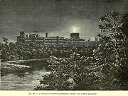 19th century image of Windsor Palace illuminated with electric light From the Book Les merveilles de la science, ou Description populaire des inventions modernes [The Wonders of Science, or Popular Description of Modern Inventions] by Figuier, Louis, 1819-1894 Published in Paris 1867