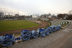 Bezigrad stadion for football in Ljubljana made by Joze Plecnik in year 1935, before rebuilded in 2008-. Start of rebuilding, workers took off the lights and sits on January 24 and 25, 2008. (Photo by Vid Ponikvar / Sportal Images)..