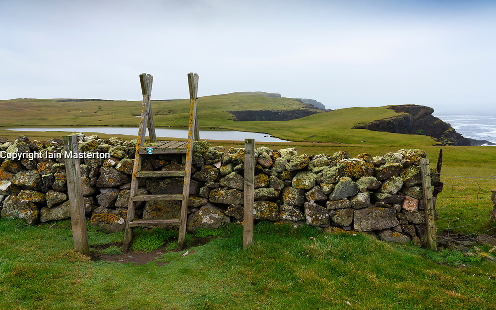 Footpath and wall on coast at Eshaness at Northmavine , north mainland of Shetland Islands, Scotland, UK