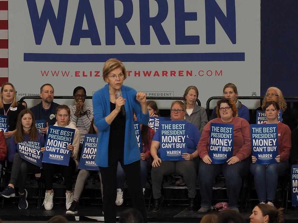 Senator Elizabeth Warren addresses the Iowa City Get Out the Caucus Rally for Elizabeth Warren