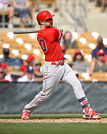 GLENDALE, ARIZONA - MARCH 04:  Jonathan Lucroy #20 of the Los Angeles Angels bats against the Chicago White Sox on March 4, 2019 at Camelback Ranch in Glendale Arizona.  (Photo by Ron Vesely)  Subject:  Jonathan Lucroy