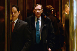 David Petraeus, Former Director of the Central Intelligence Agency, is seen inside the elevator after entering the lobby of the Trump Tower in New York, NY, on November 28, 2016. (Anthony Behar / Pool)