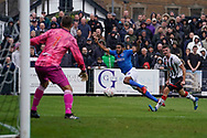 Nathan Thompson of Portsmouth shot is saved by Carl Pentney of Maidenhead United during the The FA Cup 1st round match between Maidenhead United and Portsmouth at York Road, Maidenhead, United Kingdom on 10 November 2018.