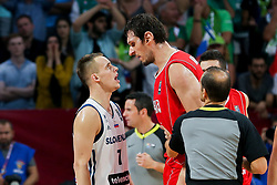 Klemen Prepelic of Slovenia vs Boban Marjanovic of Serbia during the Final basketball match between National Teams  Slovenia and Serbia at Day 18 of the FIBA EuroBasket 2017 at Sinan Erdem Dome in Istanbul, Turkey on September 17, 2017. Photo by Vid Ponikvar / Sportida