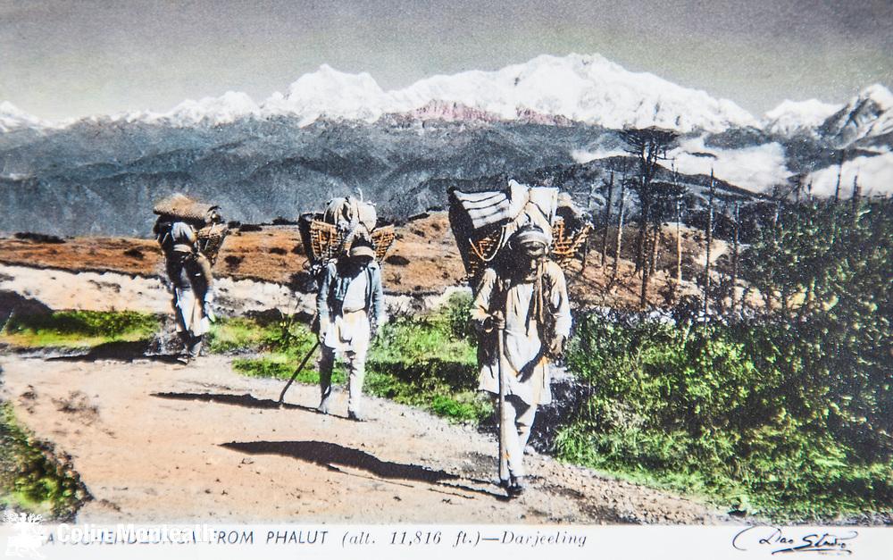 Nepali porters carry loads in doko baskets into Darjeeling, India, Kangchenjunga behind on Nepal/Sikkim/India border. Hand tinted card from Das Studio, Darjeeling, circa early 1900s
