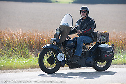 Motorcycle Cannonball coast to coast vintage run. Stage 7 (274 miles) from Cedar Rapids to Spirit Lake, IA. Friday September 14, 2018. Photography ©2018 Michael Lichter.