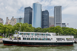 July 4, 2018 - New York, New York, United States - Statue Cruises boat taking passengers to Liberty Island - Thousands celebrated Independence day visiting the Statue of Liberty. (Credit Image: © Erik Mcgregor/Pacific Press via ZUMA Wire)