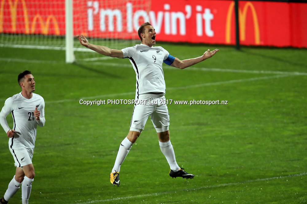 All Whites Chris Wood scores and celebrates the opening goal of the match. 2018 FIFA World Cup Russia™ Qualifiers – OFC Stage 3 Finals, New Zealand v Solomon Islands, QBE Stadium Auckland, Friday 1st September 2017. Copyright Photo: Shane Wenzlick