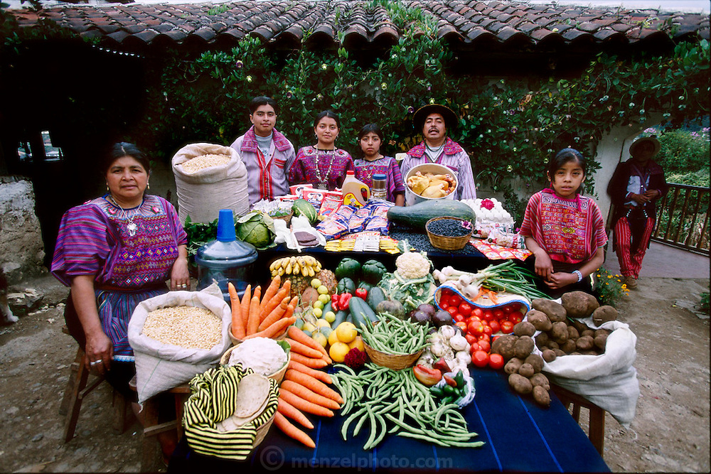 (MODEL RELEASED IMAGE). The Mendoza family and a servant in their courtyard in Todos Santos Cuchumatán, Guatemala, with a week's worth of food. Between Fortunato Pablo Mendoza, and Susana Pérez Matias, stand (left to right) Ignacio, Cristolina, and a family friend (standing in for daughter Marcelucia, who ran off to play). Far right: Sandra Ramos, live-in helper. The Mendoza family is one of the thirty families featured in the book Hungry Planet: What the World Eats (p. 156)